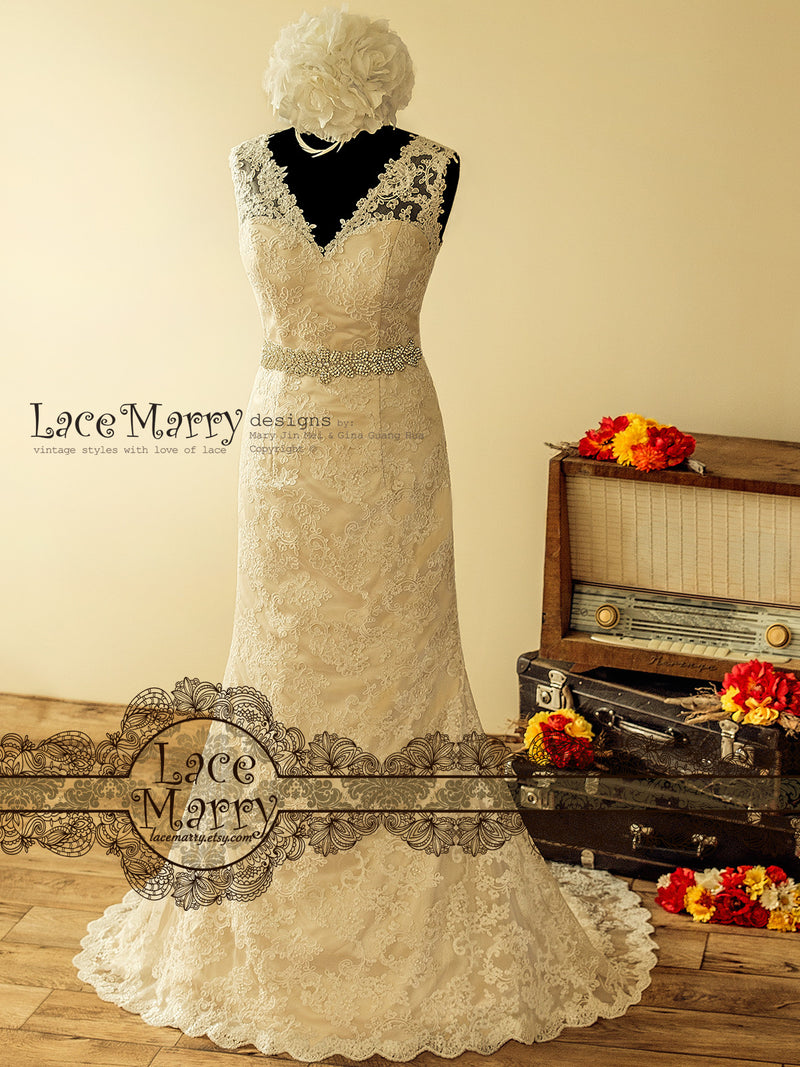 Splendid Lace Wedding Dress in Slim A Line Shape