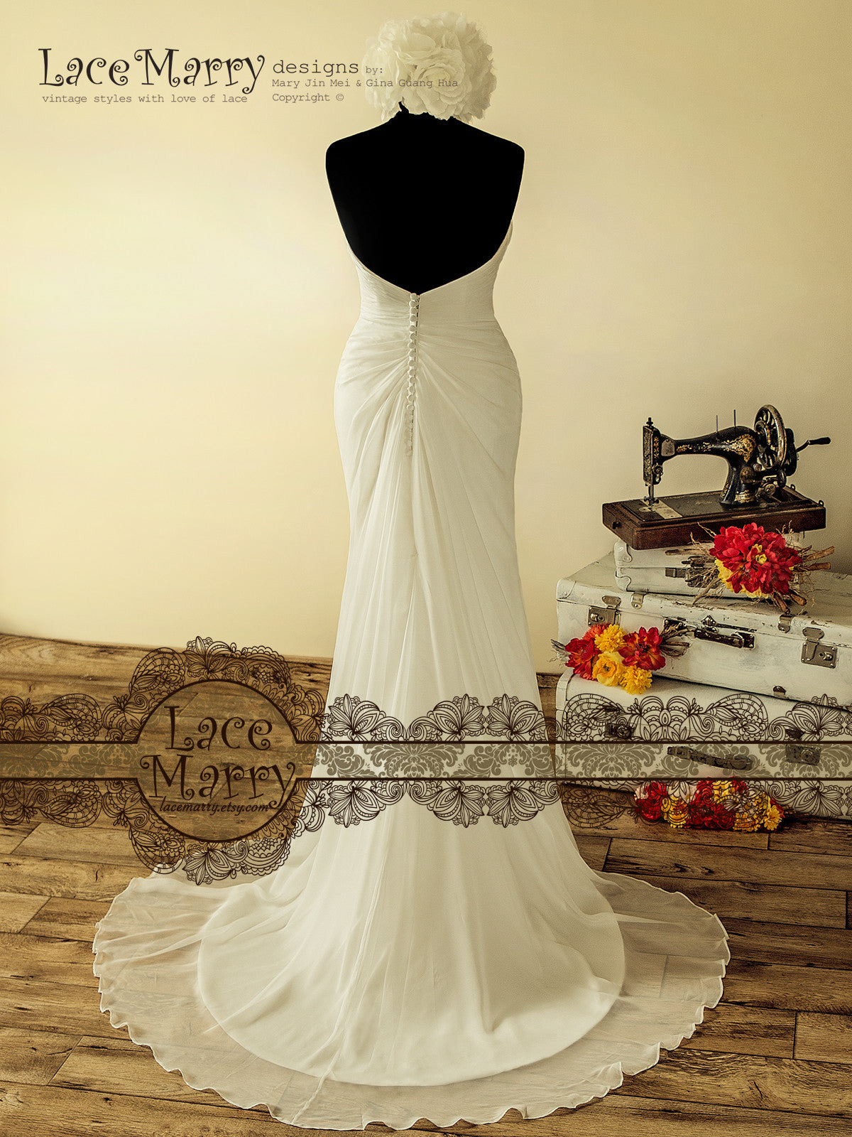 Open V-Back Silk Chiffon Wedding Dress