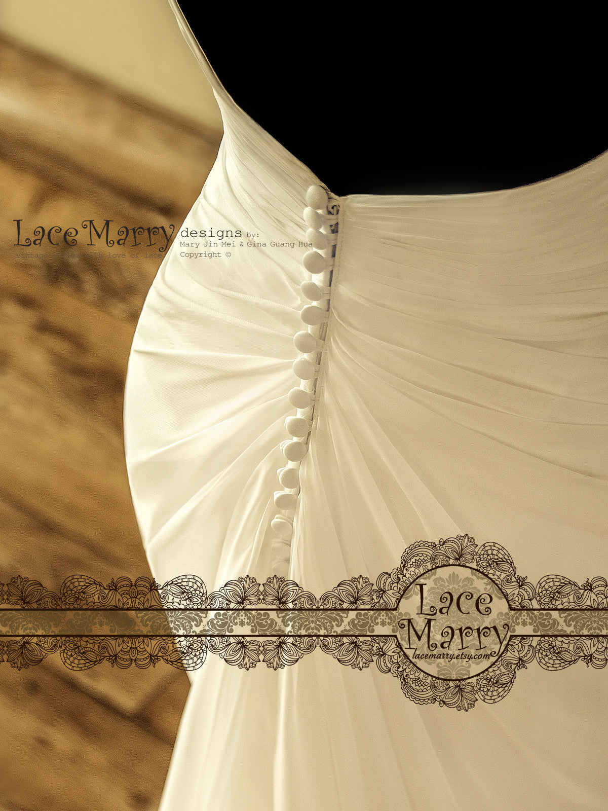 Row of Covered Buttons on the Back of Wedding Dress