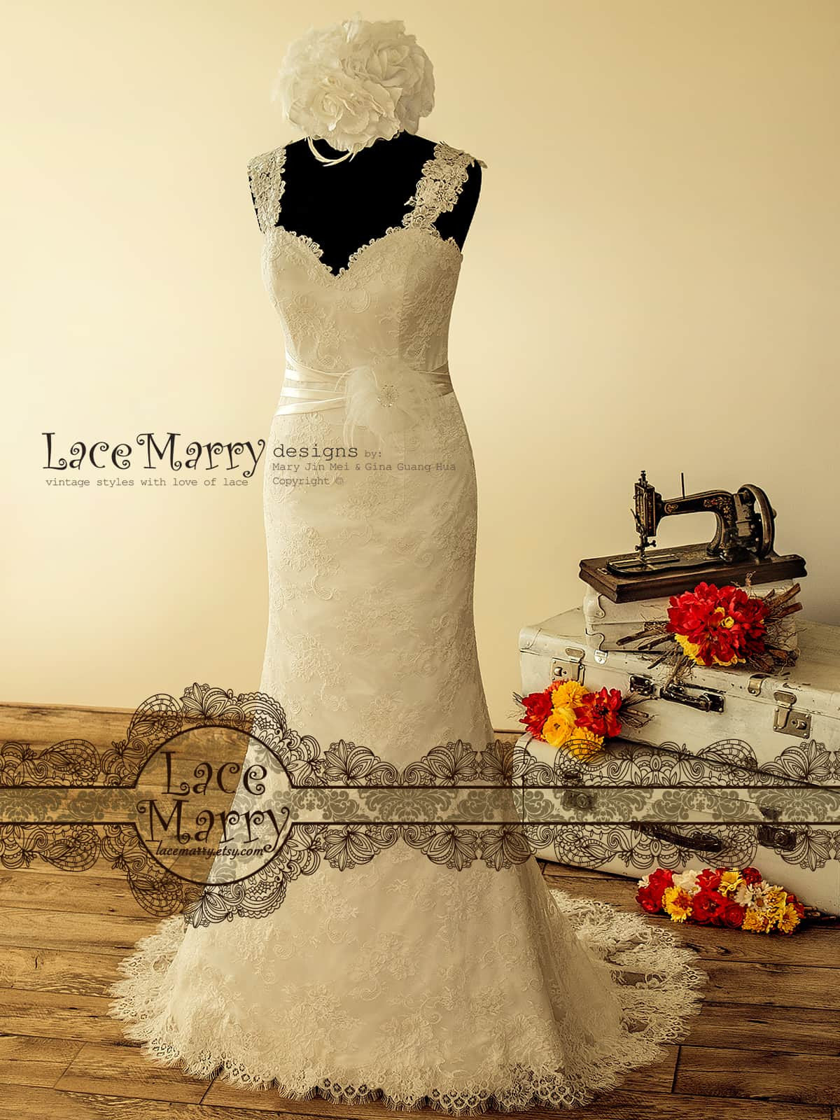 Stunning Lace Wedding Dress in Sheath Shape