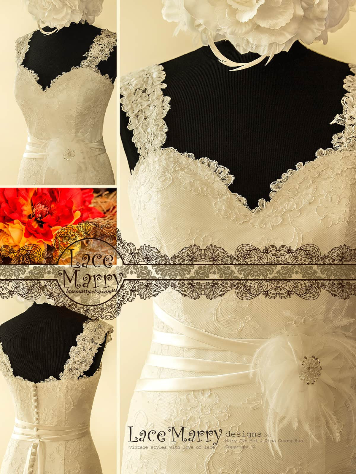 Wedding Dress with Wide Lace Straps
