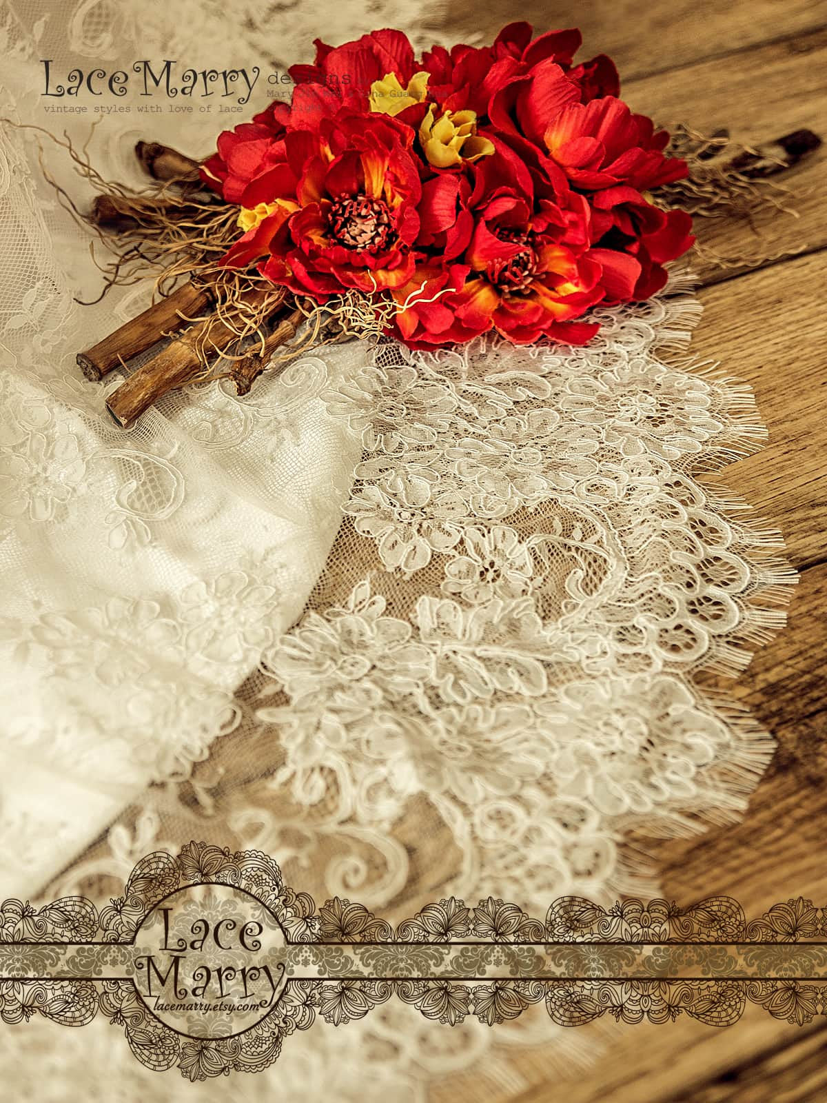Exquisite Alencon Lace Wedding Dress