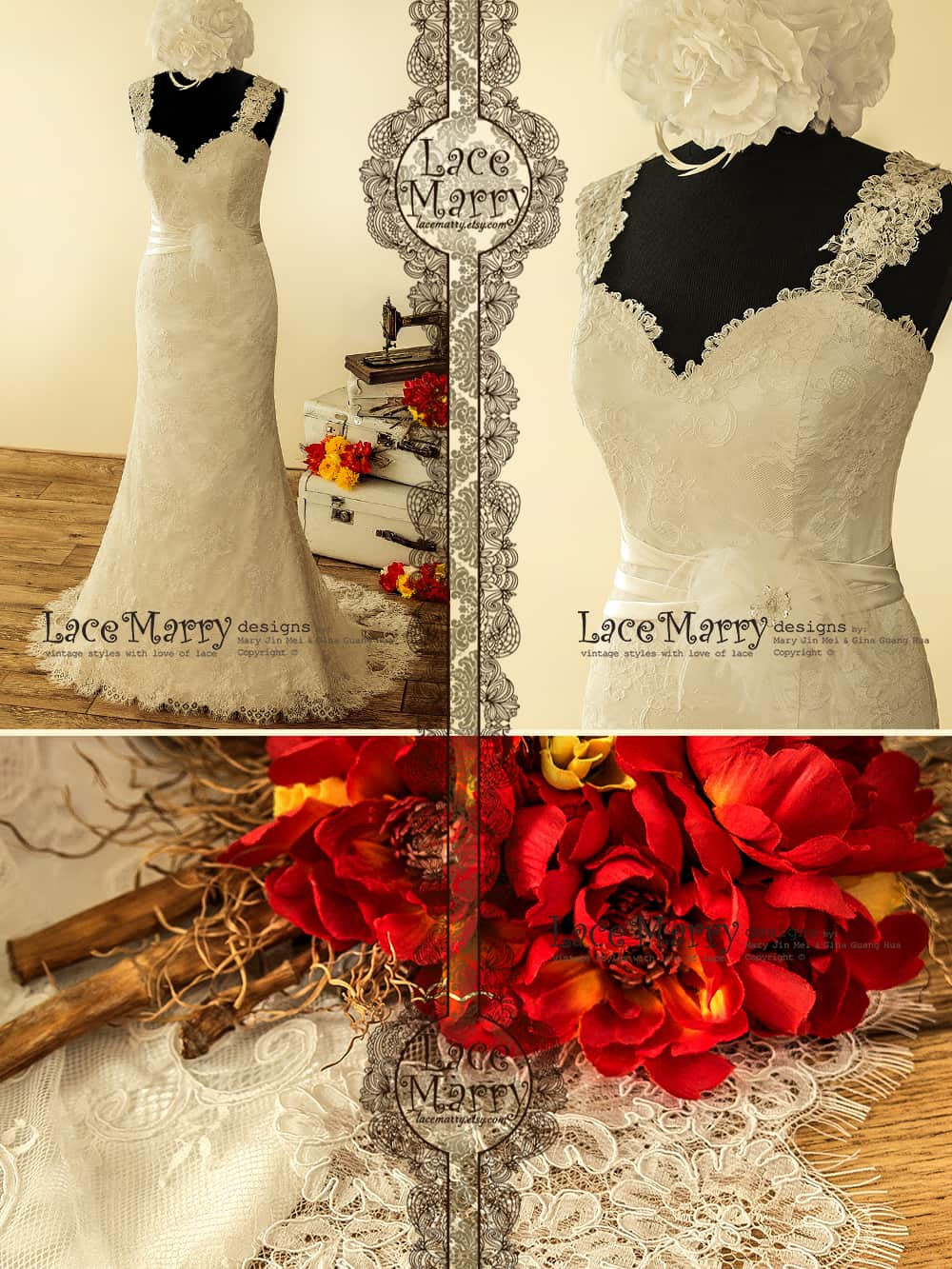 Sheath Wedding Dress with Lace Straps