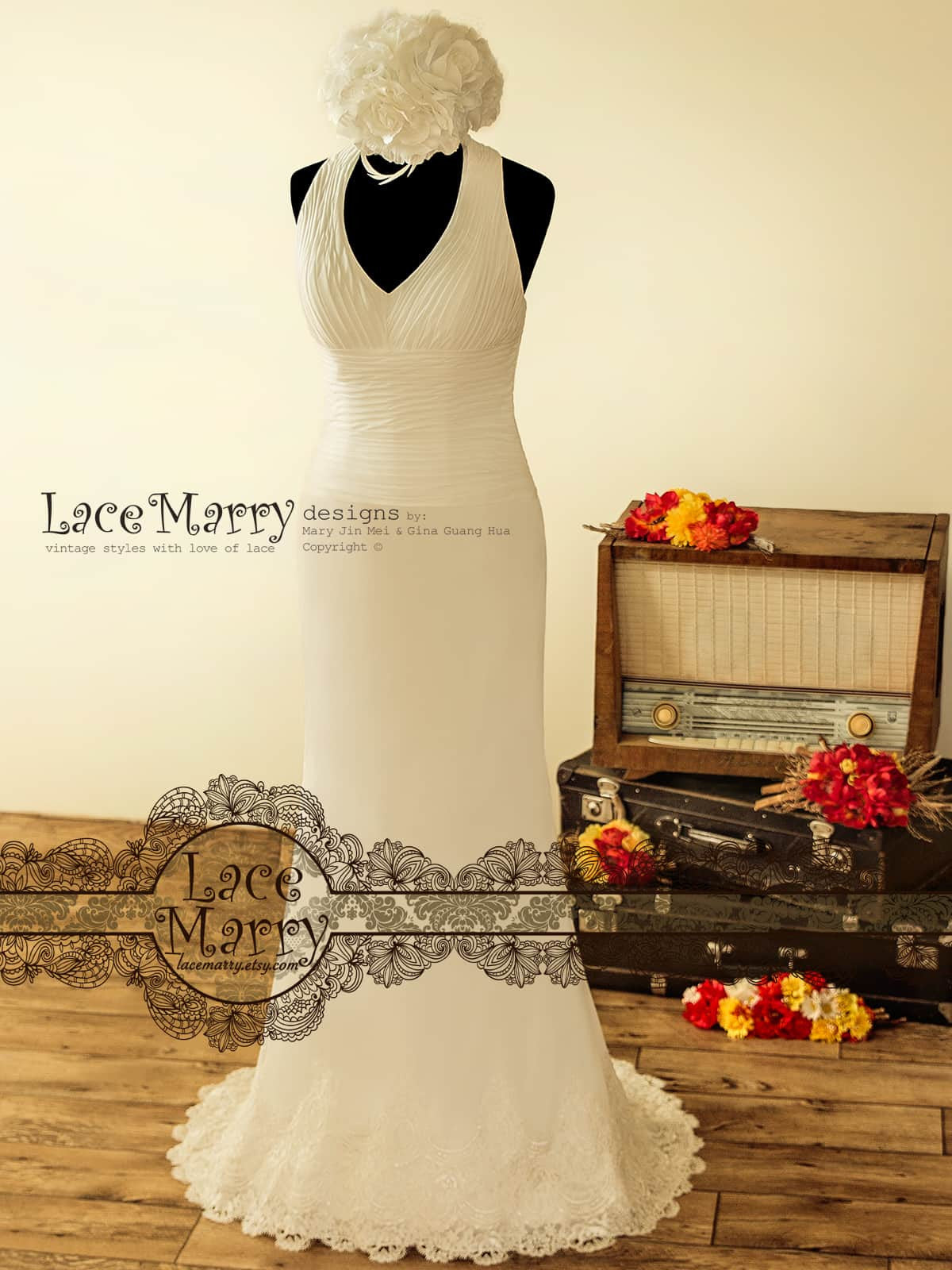 Chiffon Wedding Dress in Sheath Shape