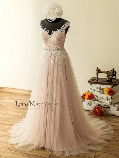 17074b3ff43 Champagne Dusty Pink Wedding Dress with Airy Tulle Skirt and Rose Flower  Lace Appliqué