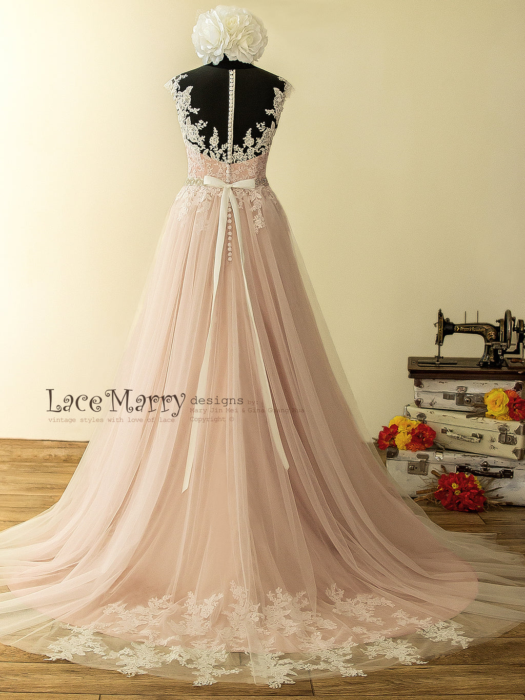 017774cf259 ... Illusion Champagne Dusty Pink Wedding Dress with Airy Tulle Skirt and  Rose Flower Lace Appliqué