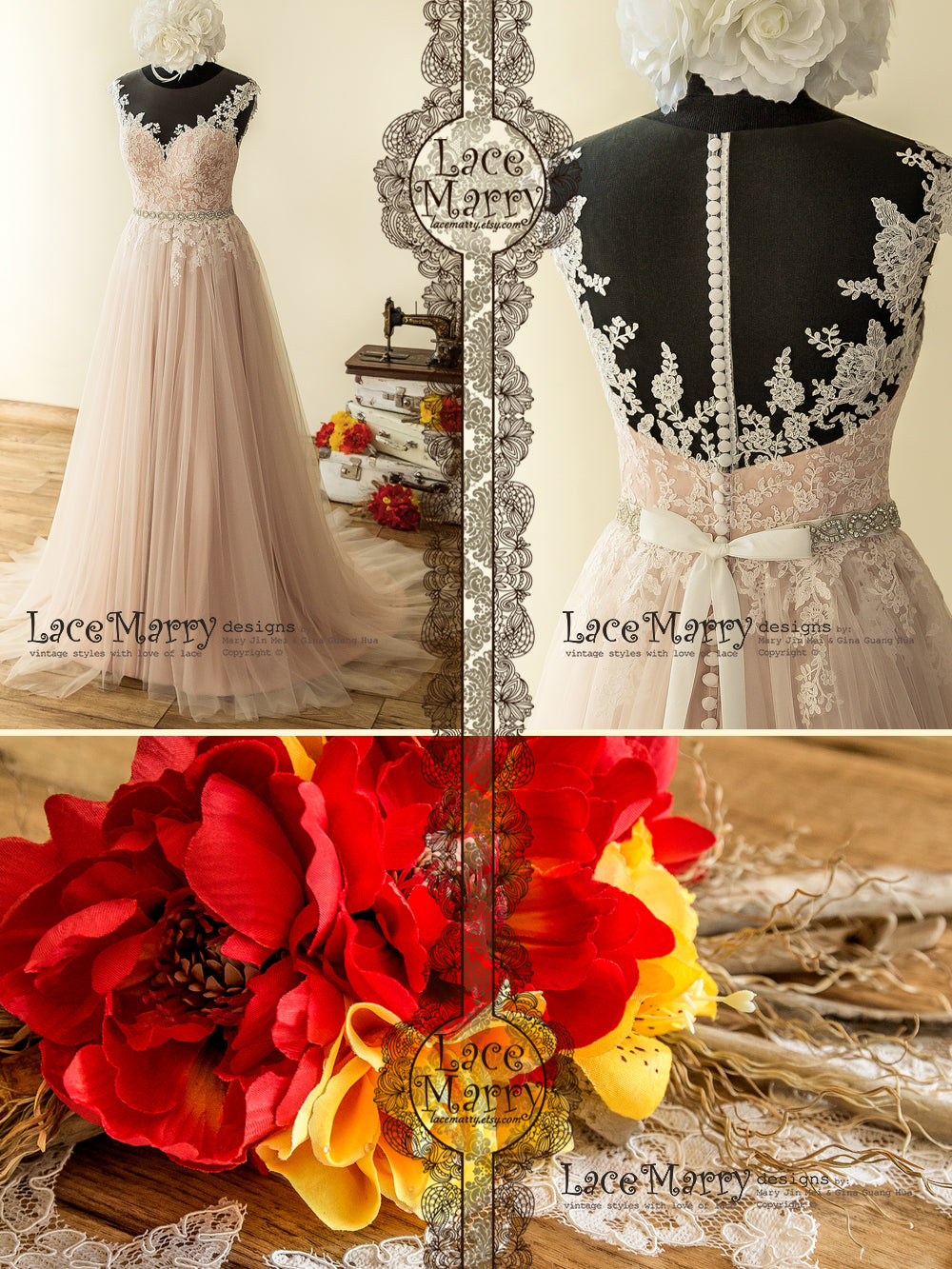 Champagne Dusty Pink Wedding Dress with Airy Tulle Skirt and Rose Flower Lace Appliqué, Illusion Sheer Neckline and Back with Beaded Sash