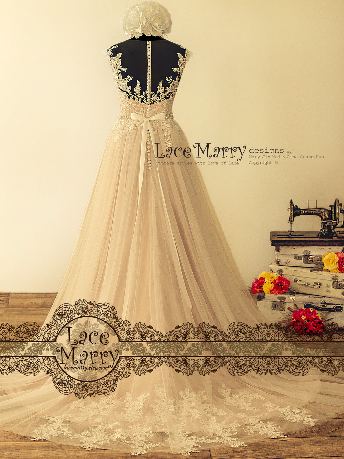 Chapel Train Lace Wedding Dress