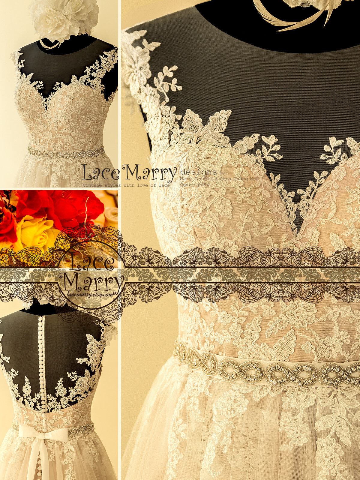Exclusive Alencon Lace Wedding Dress