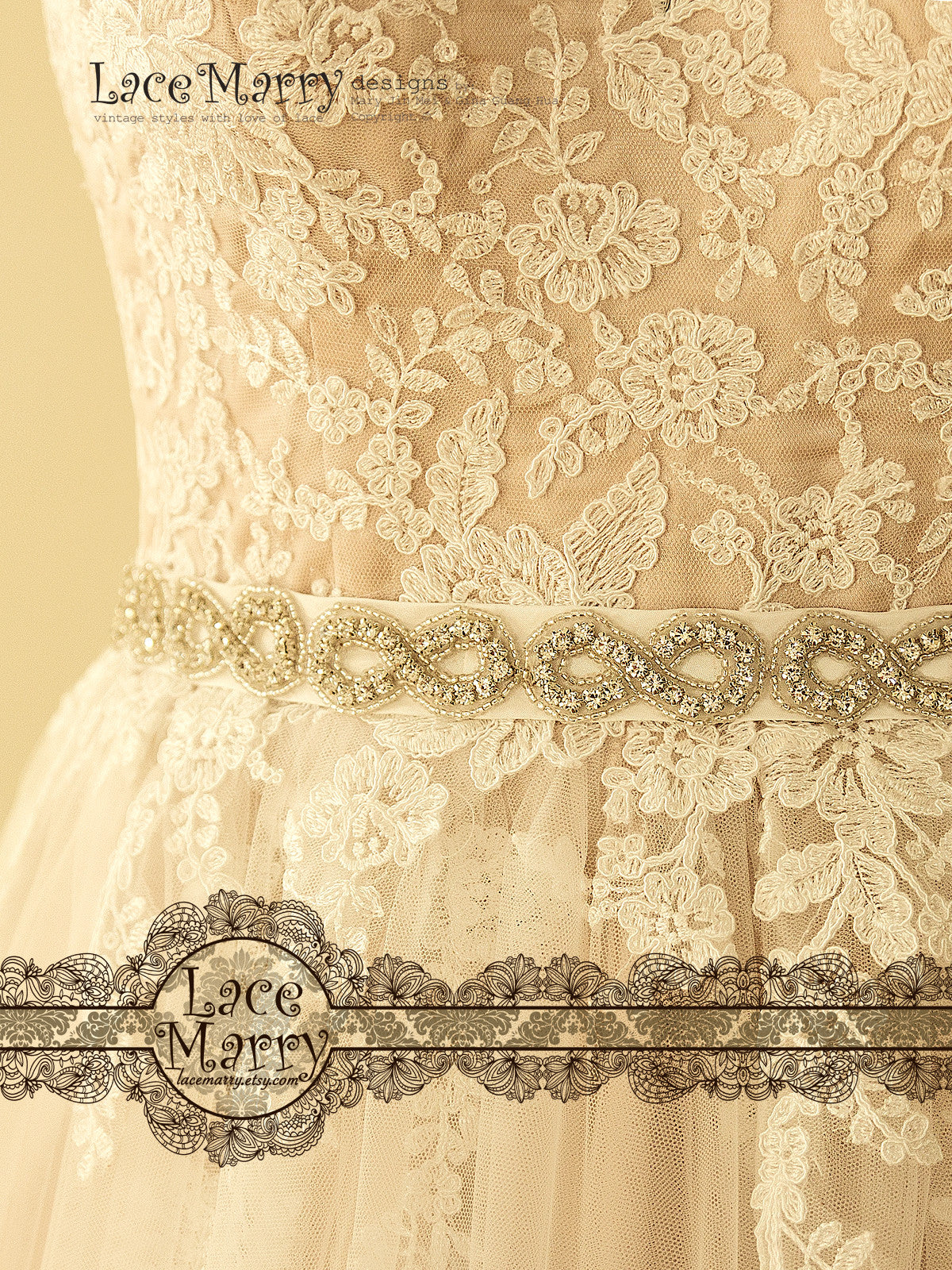 Beautiful Beaded Embelishment Taffeta Sash