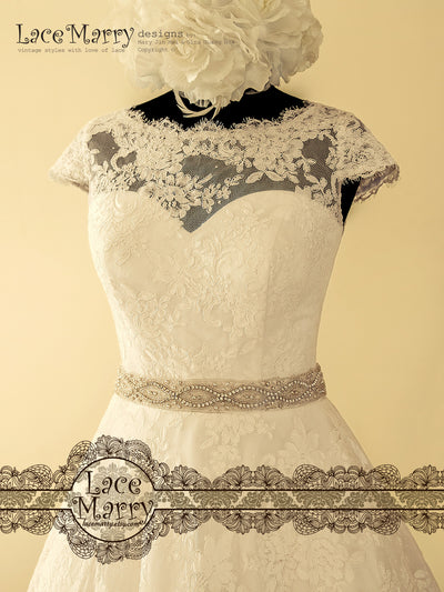Exclusive Alencon Lace Short Wedding Dress