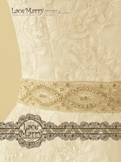 Bridal Sash with Crystal Embellishment