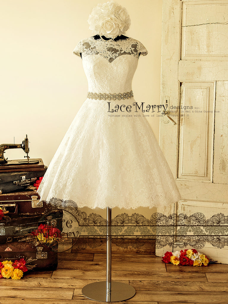1950\'s Style Tea Length Wedding Dress from Alencon Lace with Cap ...