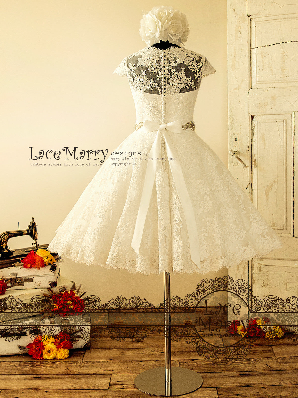 Short Wedding Dress with Cap Sleeves