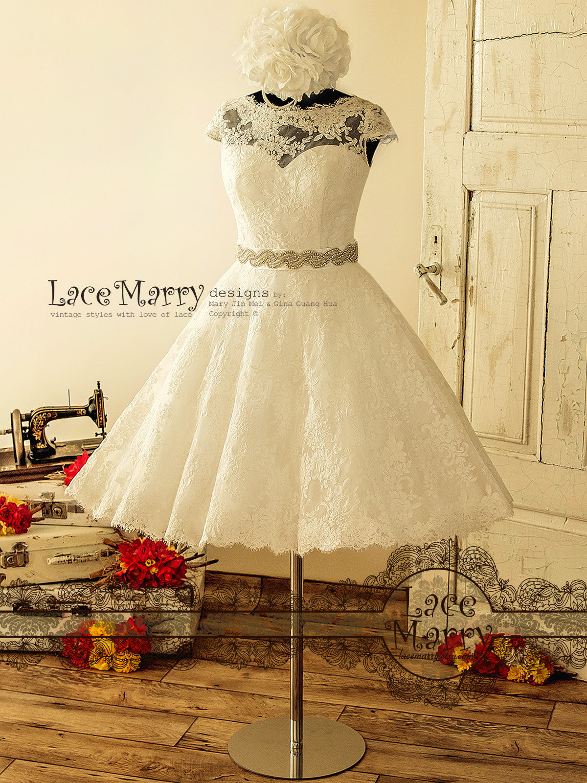1950s Knee Length Lace Wedding Dress