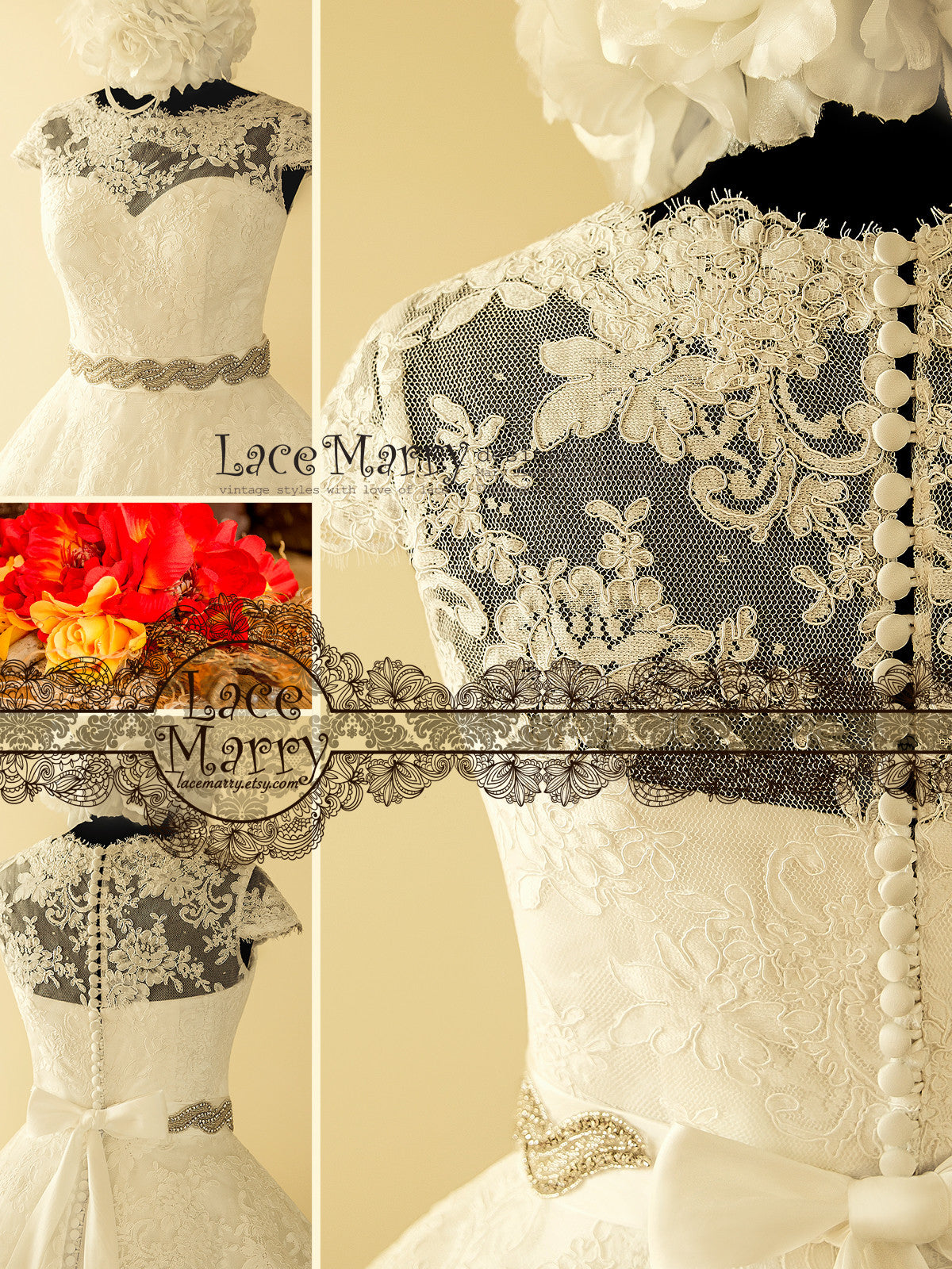Full Lace Back Tea Lenght Wedding Dress