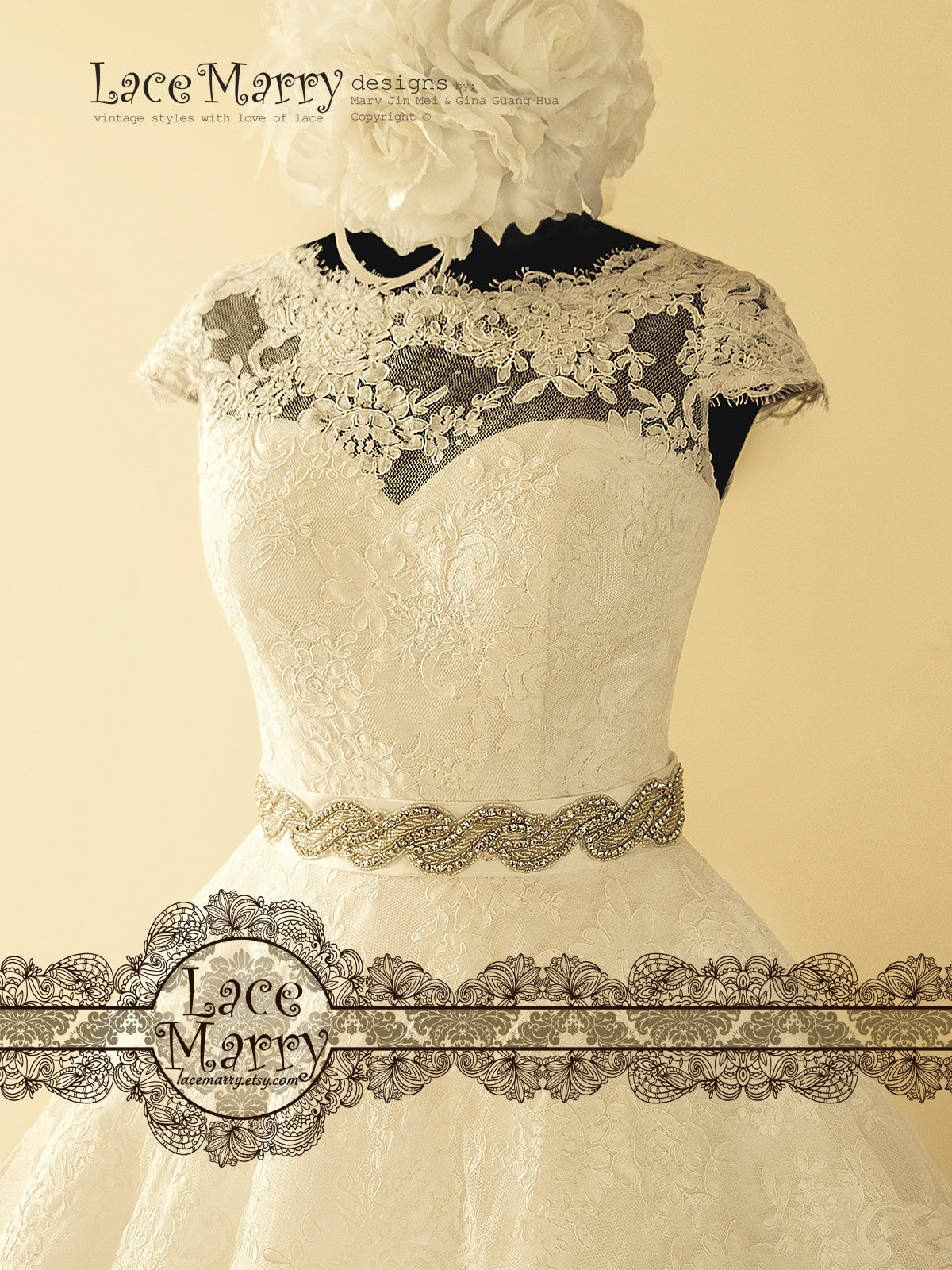 Illusion Neckline with Sweetheart Underaly Lace Wedding Dress