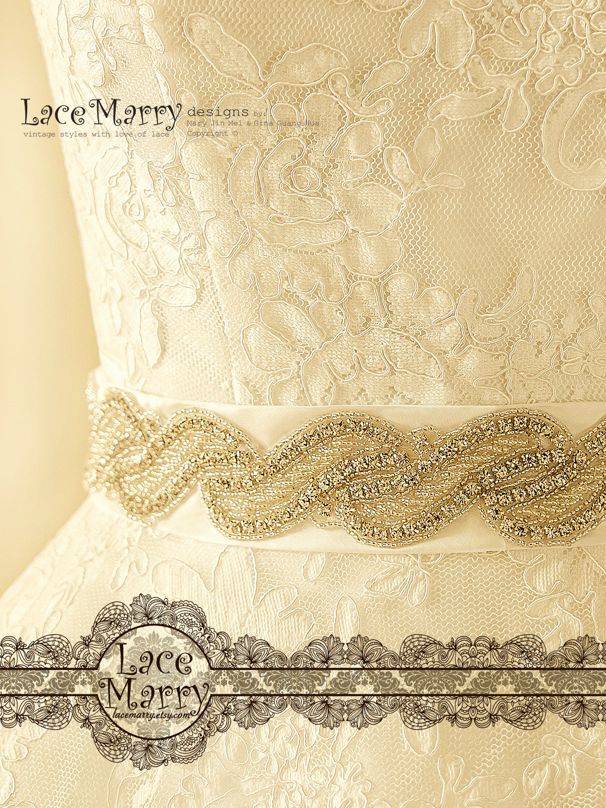 Long Beaded Bridal Sash