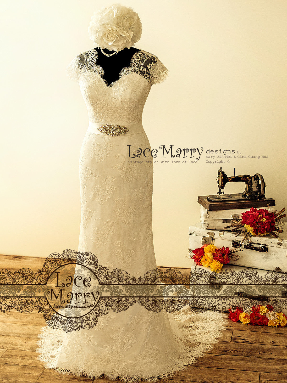 Bohemian Lace Wedding Dress in 20's Style