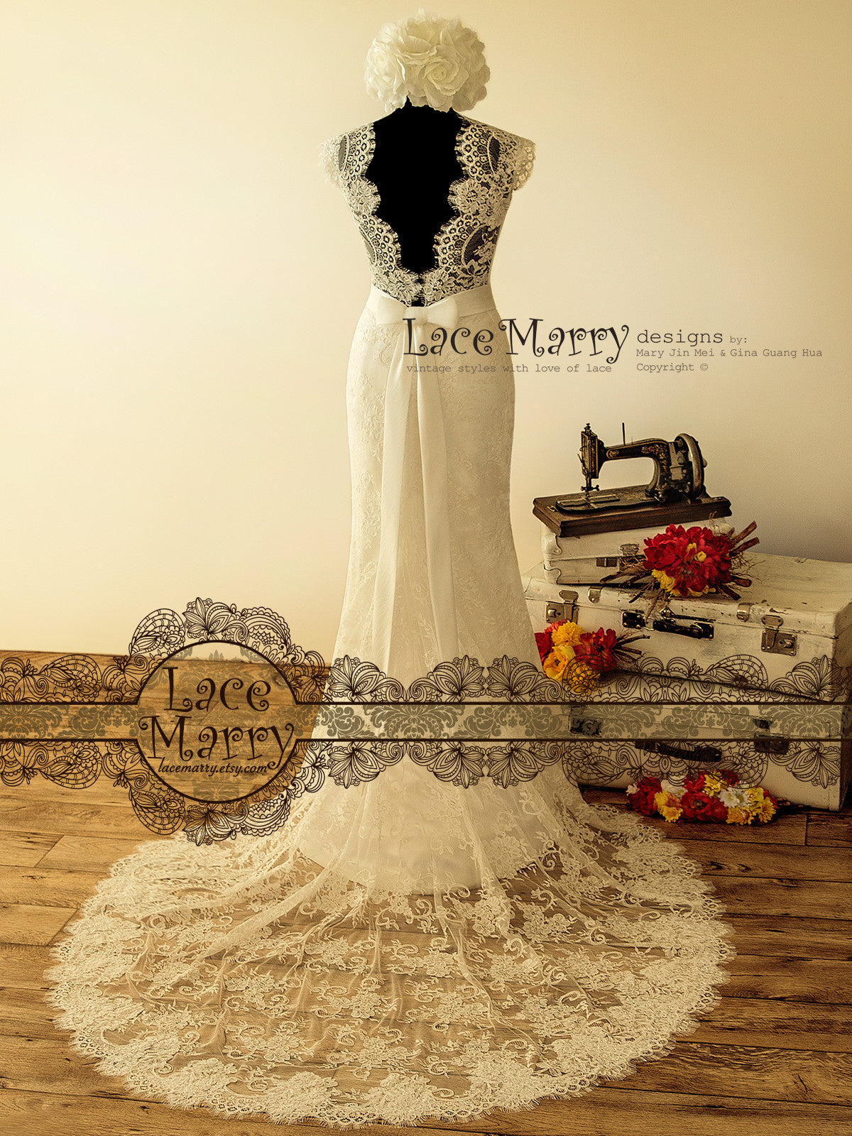 Sheer Cathedral Train Wedding Dress