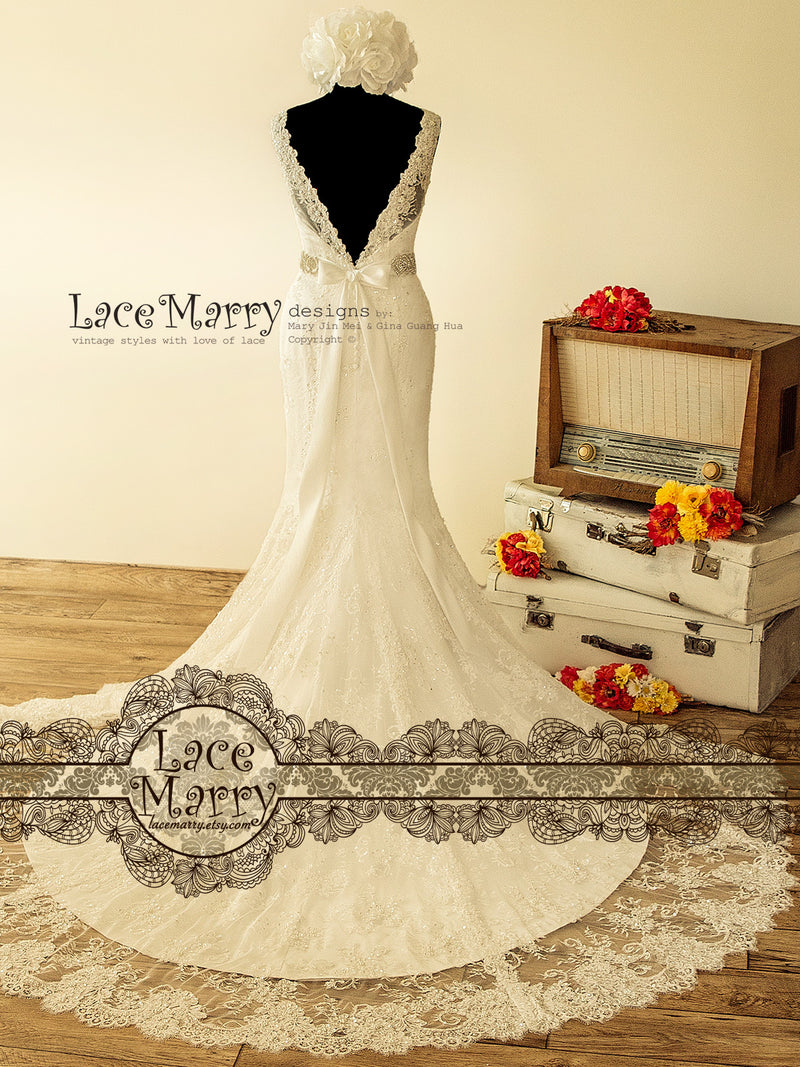 Sparkling Lace Wedding Dress with V Cut Neckline