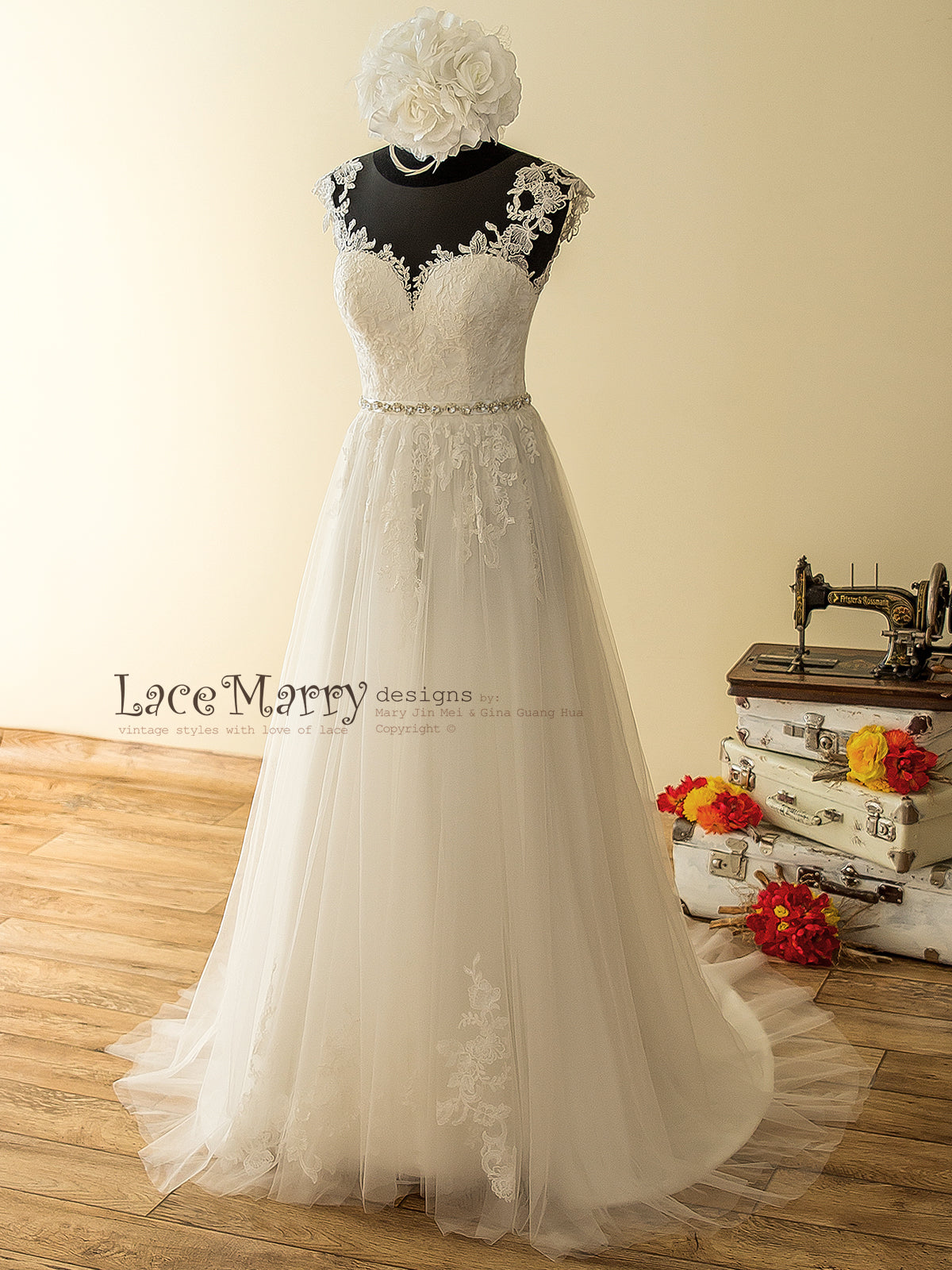 Airy Tulle Boho Wedding Dress