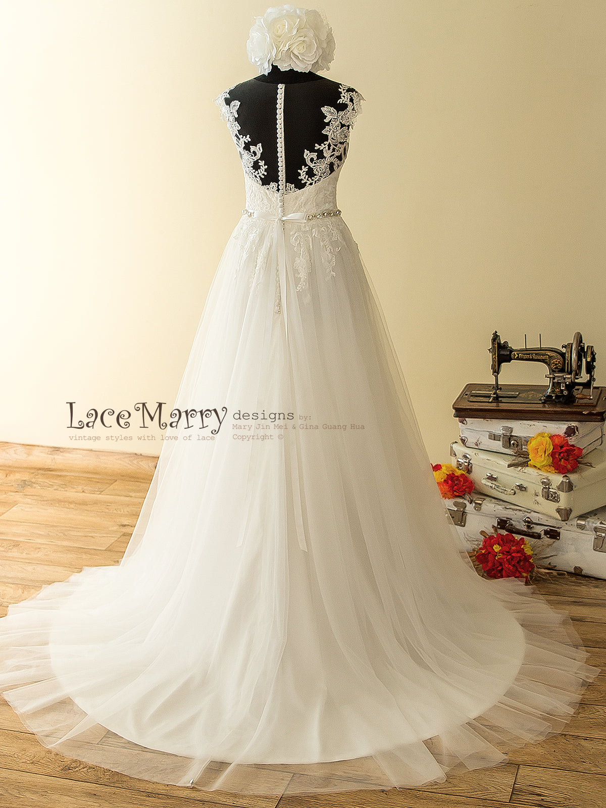 Sheer Back Lace Boho Wedding Dress