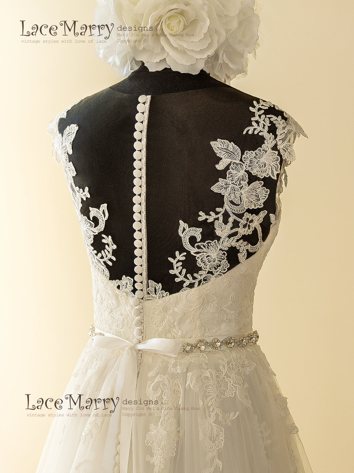 Lace Applique Stitched Wedding Dress