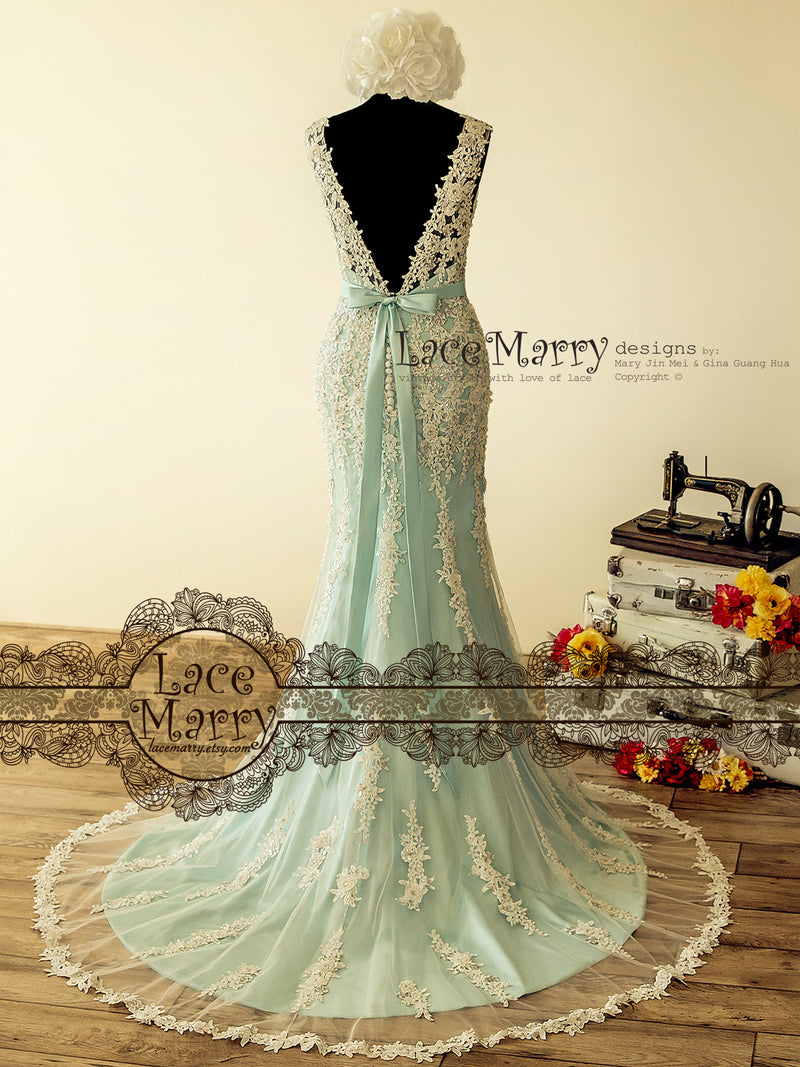 Fabulous Teal Wedding Dress with Intensive Beading
