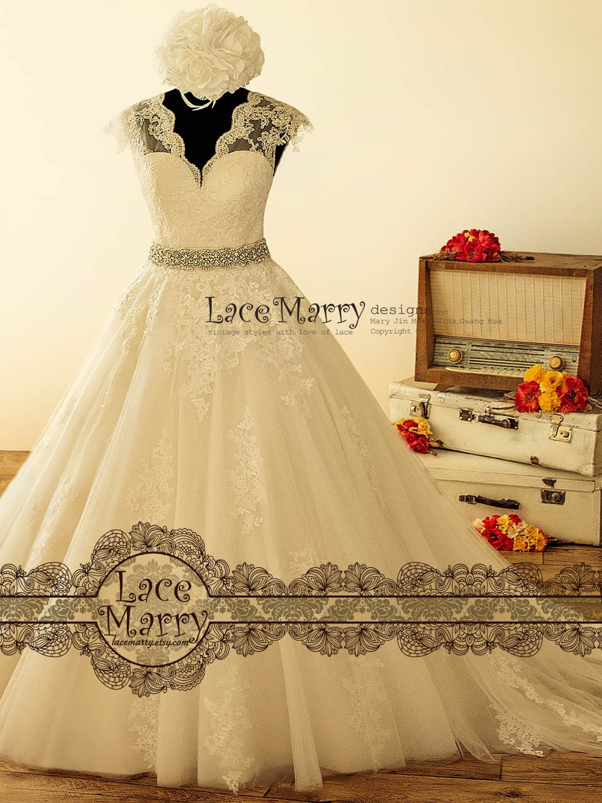 Gorgeous Wide A-Line Wedding Dress