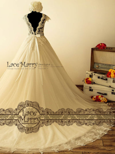 V Cut Back A Line Wedding Dress With Cathedral Train
