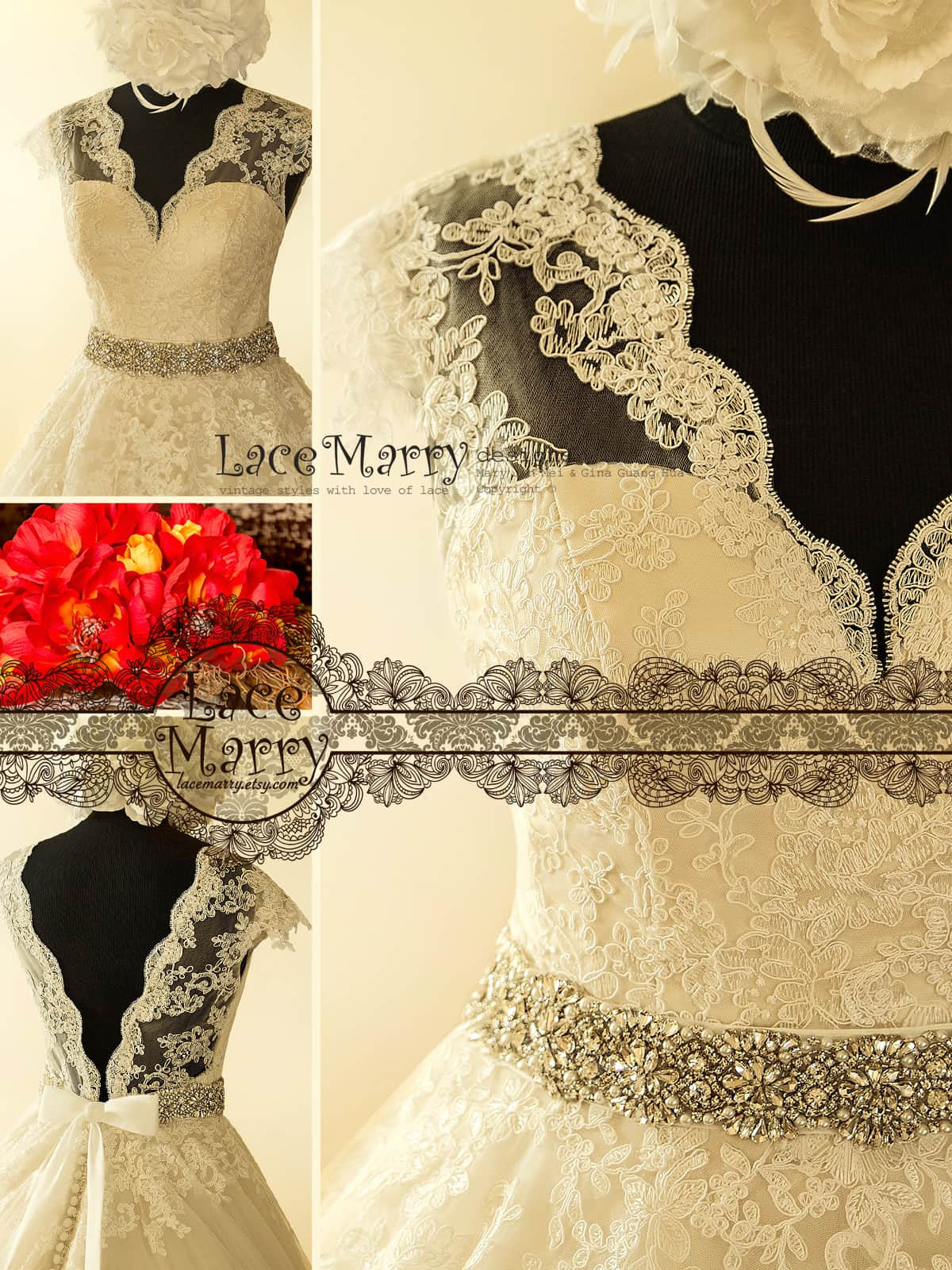 Sexy V Neckline Lace Wedding Dress