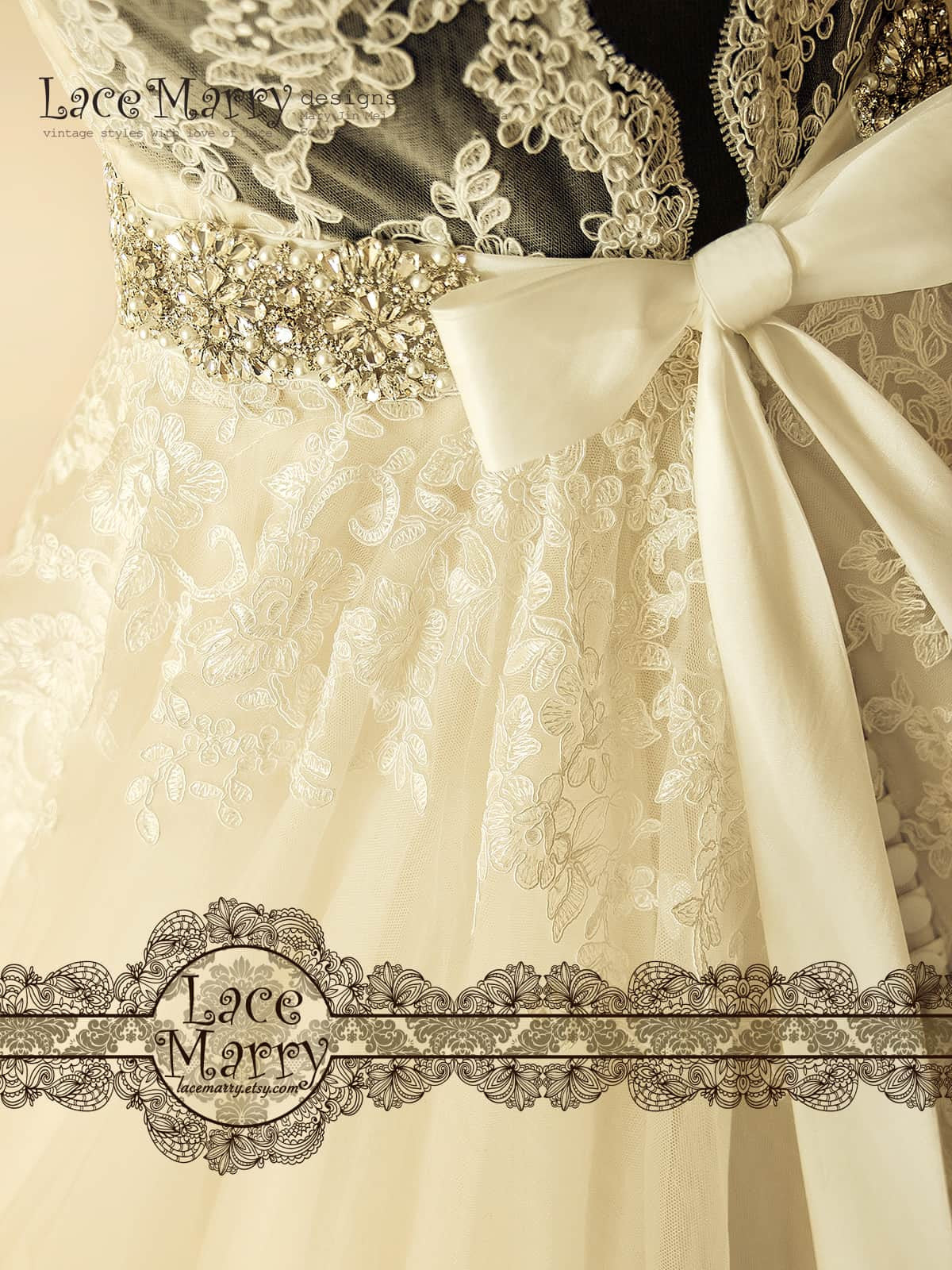 Long Beaded Sash for Wedding Dress