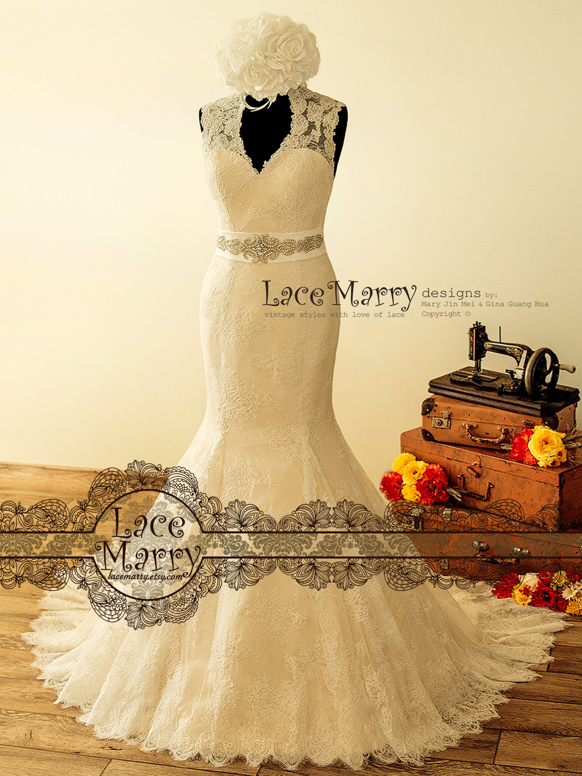 Vintage Style Trumpet Shape Wedding Dress from French Lace - LaceMarry