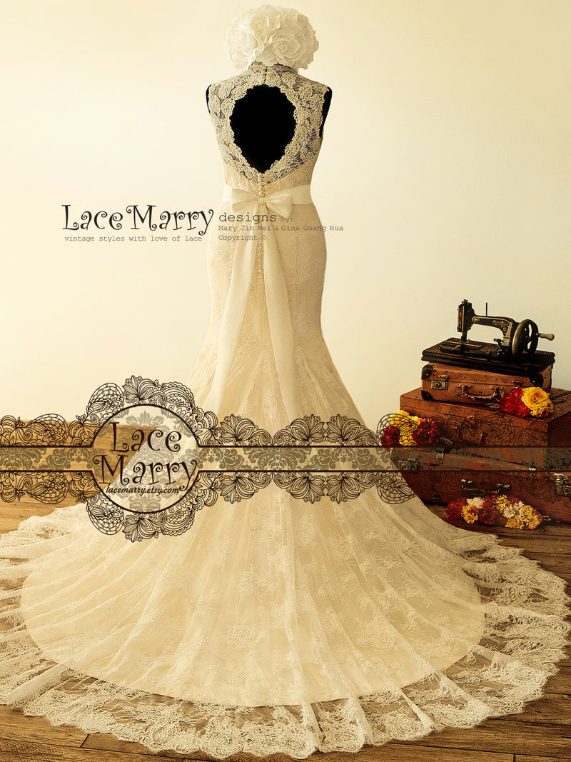 French Lace Trumpet Wedding Dress