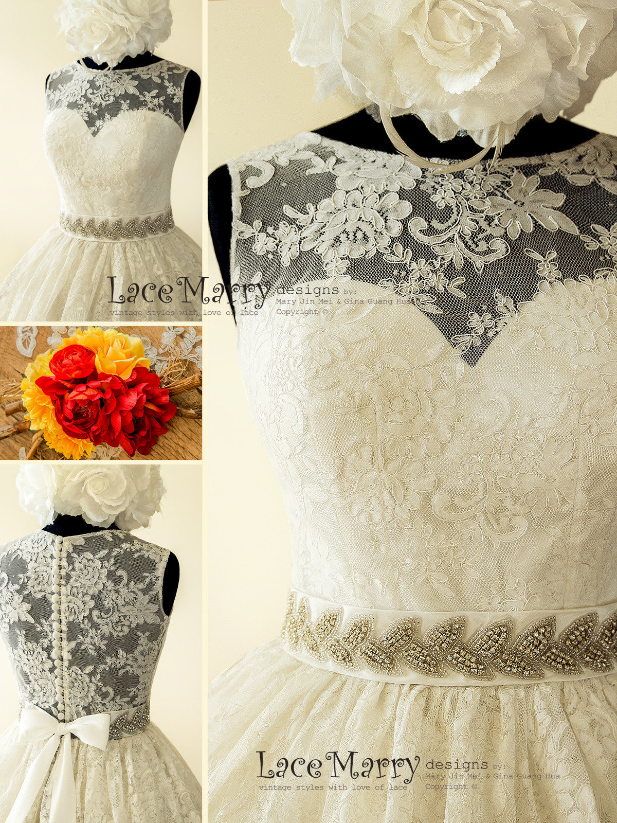 Pin Up Lace Wedding Dress Inspired by 50 s with Puffy A Line Skirt