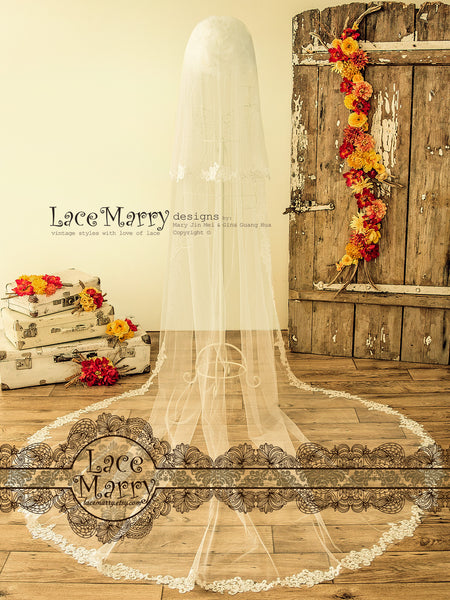 Two Tire Cathedral Lace Wedding Veil