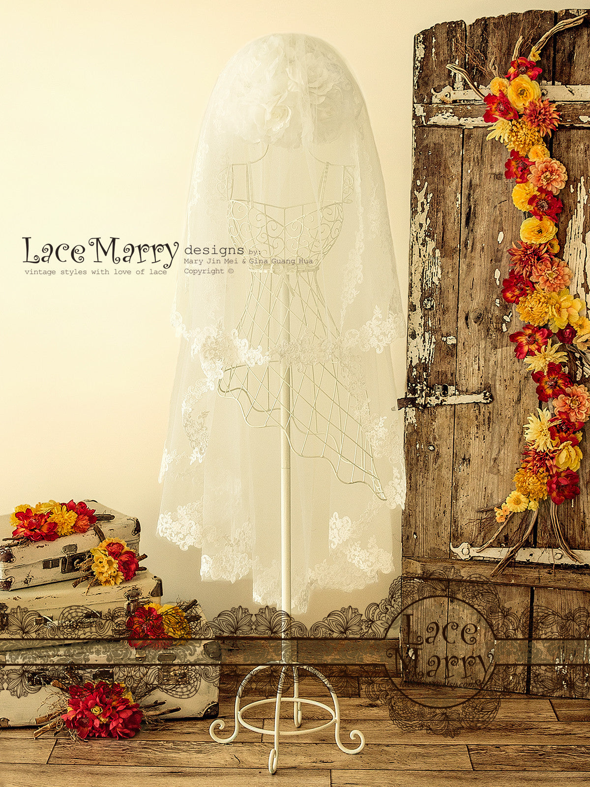 Drop Lace Bridal Veil