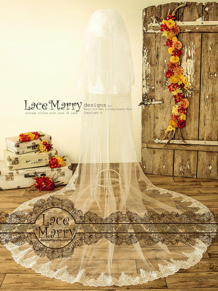 Cathedral Length Lace Wedding Veil