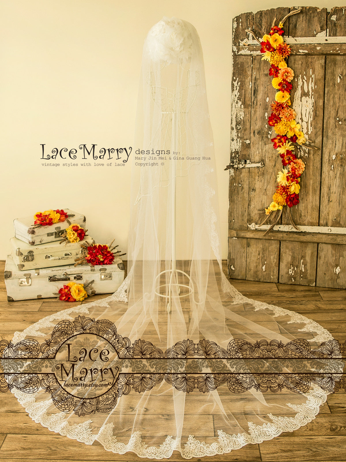 Long Cathedral Lace Wedding Veil
