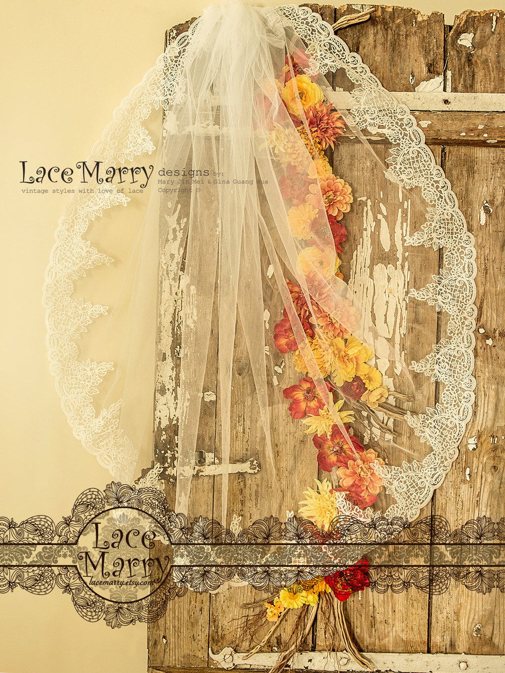 Drop Lace Wedding Veil