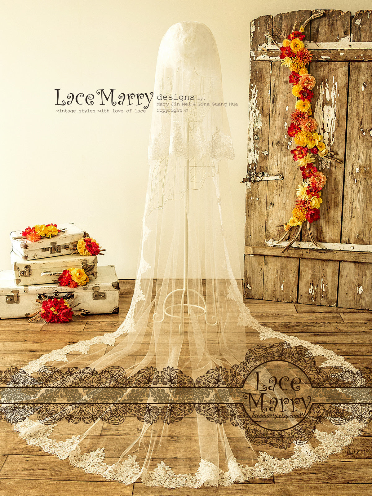 Long Cathedral Length Bridal Veil
