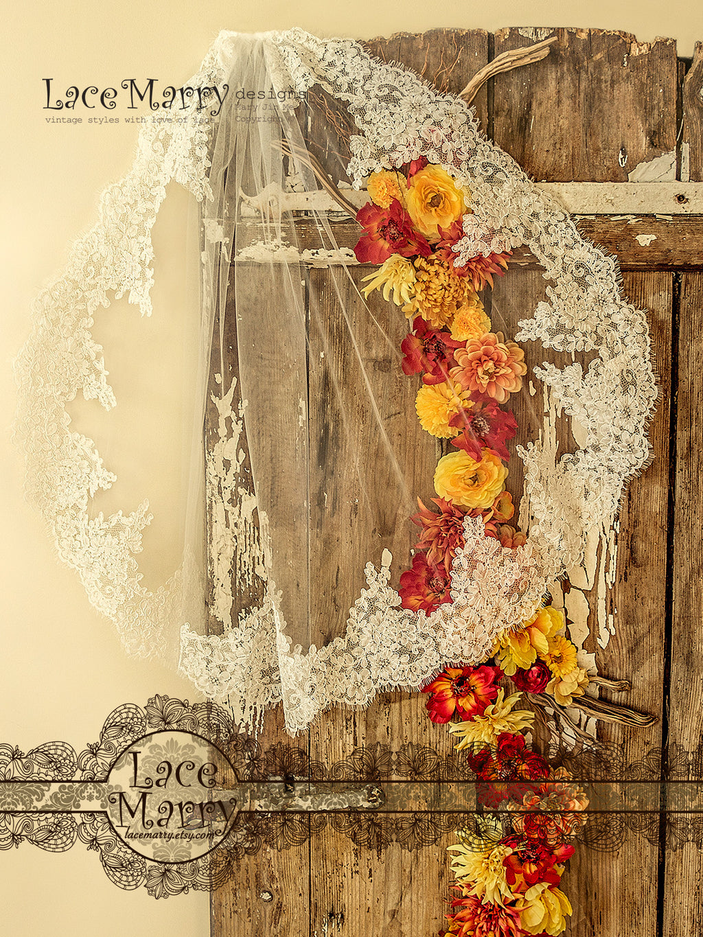 Fingertip Mantilla Bridal Veil