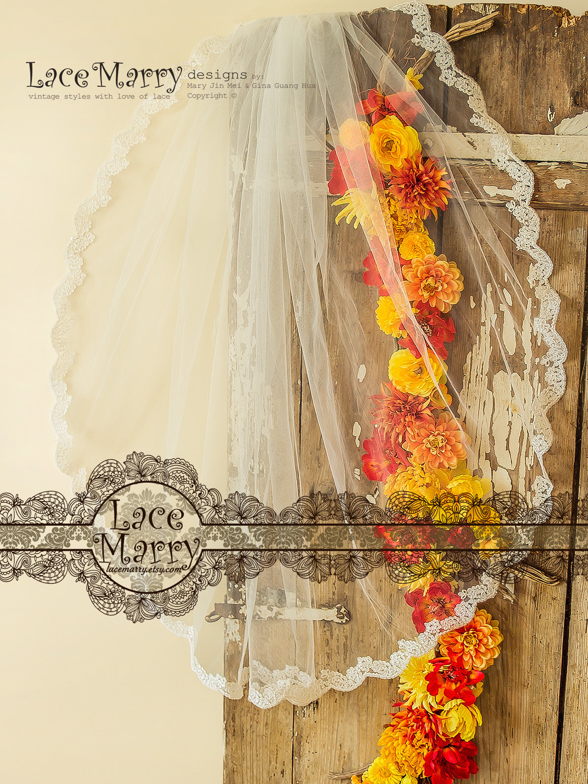Wavy Lace Trim Bridal Veil