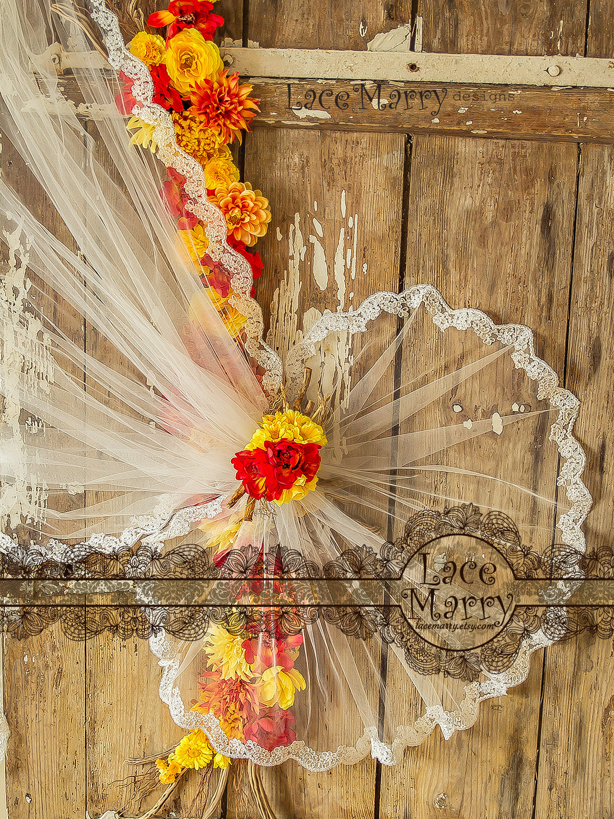 Waltz Length Circle Veil with Lace Flower Applique Edge
