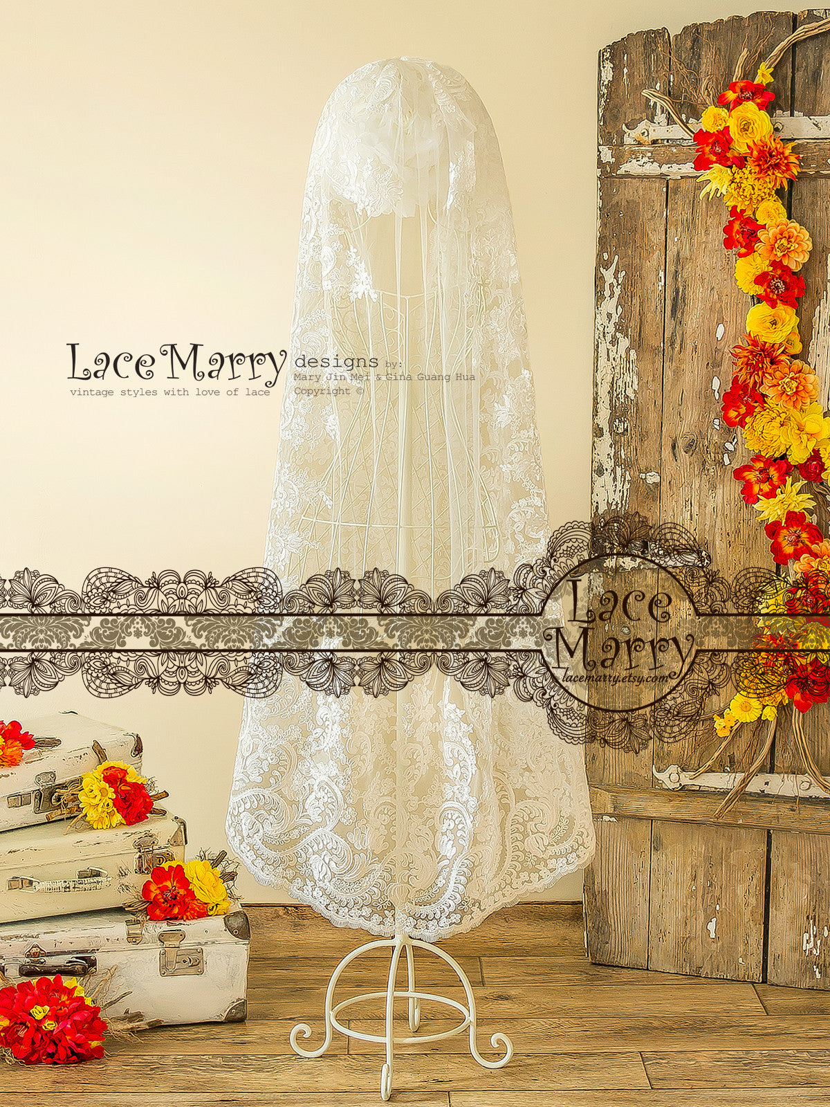 Waltz Length Mantilla Veil with Embroidered Lace Hem