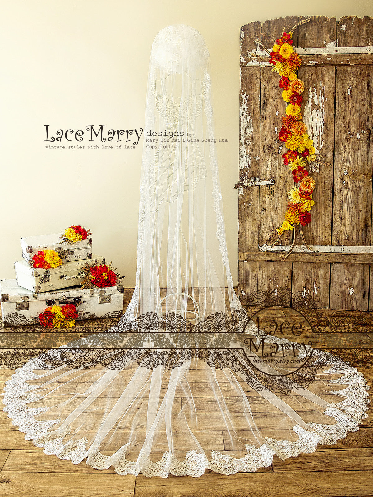Long Cathedral Bridal Lace Veil