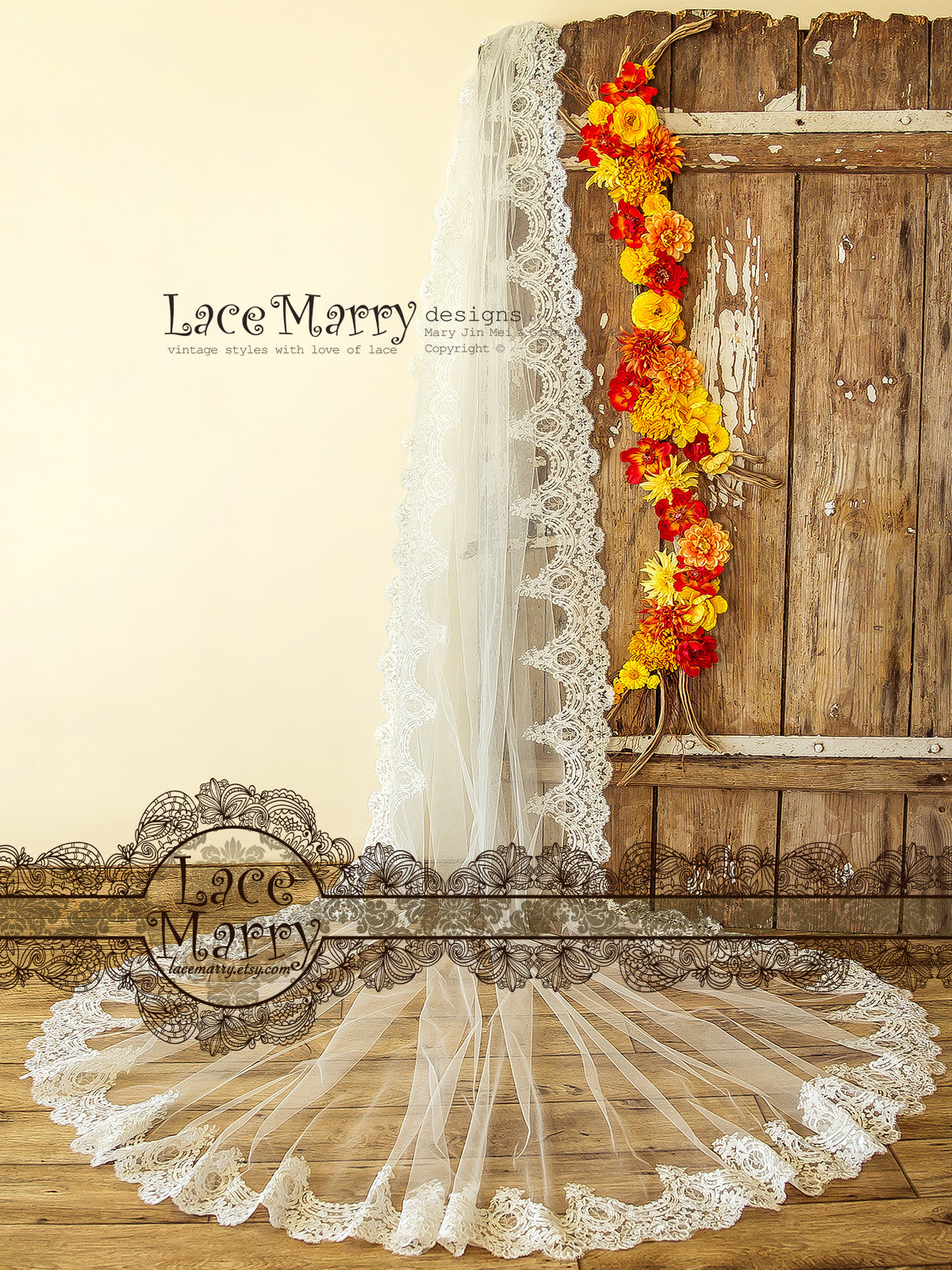 Single Tier Long Bridal Veil