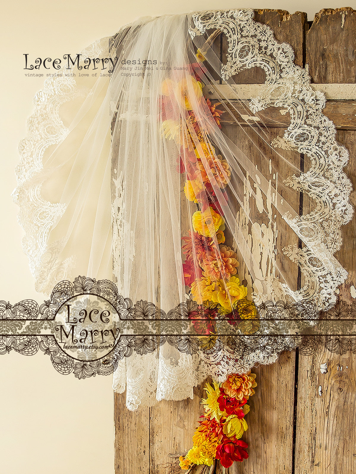 Waltz Length Bridal Veil with Blusher