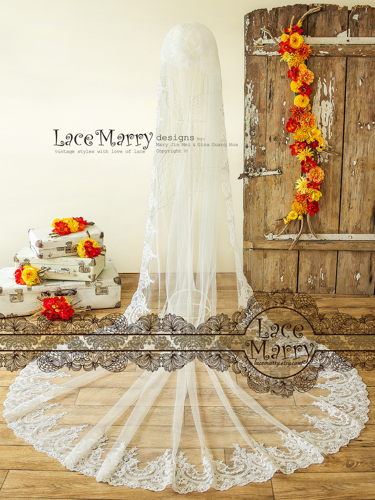 One Tier Long Bridal Veil